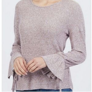 Lucky Brand | Lavender Bow Sleeve Ribbed Sweater